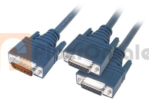 Cisco 72-1357-01 CAB-2X21FC LFH60 Male to 2 X.21 DB15 DCE Female 3M Cable