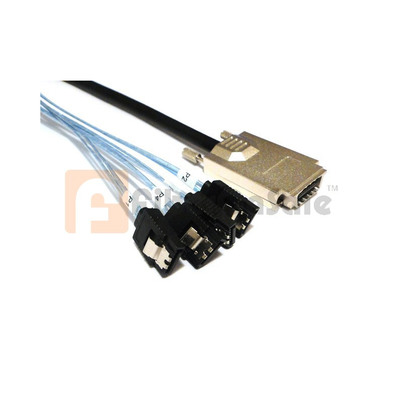 1M SAS(SFF-8470) to 4 SATA breakout crossover cable
