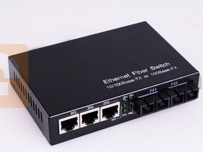 10/100M Multimode Ethernet Fiber Media Converter 3*UTP + 2*MMF Ports