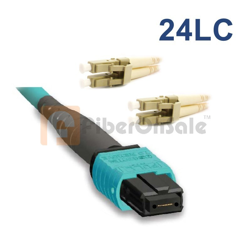 24 Fibers 10G OM3 12 Strands MTP/MPO to LC Harness Cable 3.0mm LSZH/Riser