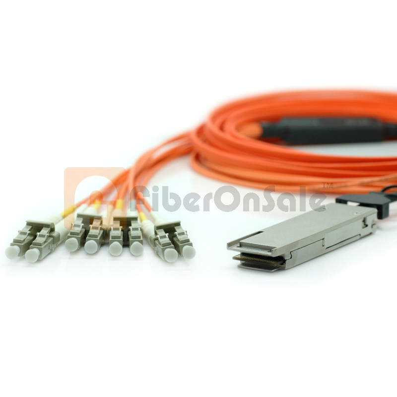 50M(164.04ft) 40GBASE QSFP+ to LC Connector(8) Breakout Active Optical Cable