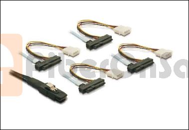 Internal Mini SAS to 4xSAS 29pin(power) cable 0.5 Meter