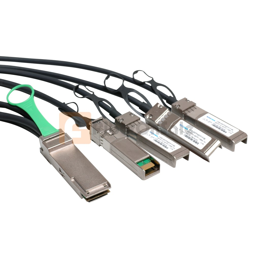 2M(6.6ft) Passive Copper AWG30 40GBASE QSFP+ to 4 SFP+ Breakout Direct Attach Cable