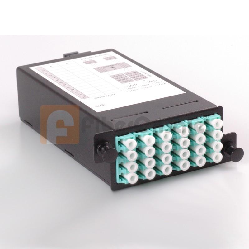 24 Core High Density Fiber System MPO Box, 2 ports MPO to 2x 12 ports LC connectors, OM3, MMF