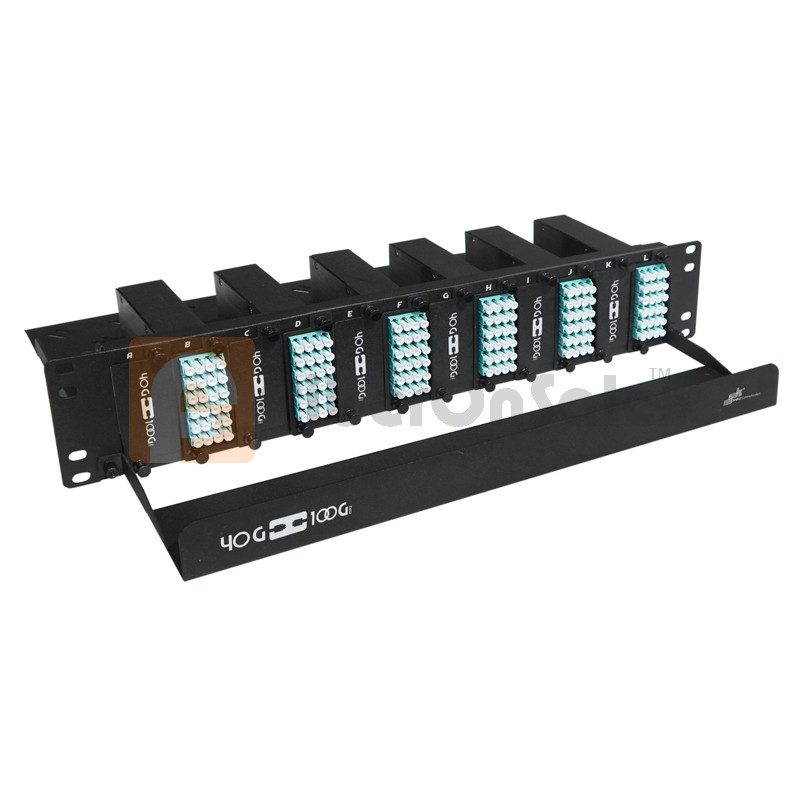 144 Core High Density MPO Fiber System, 2U, 12 ports MPO to 144 ports LC connectors, OM3, MMF